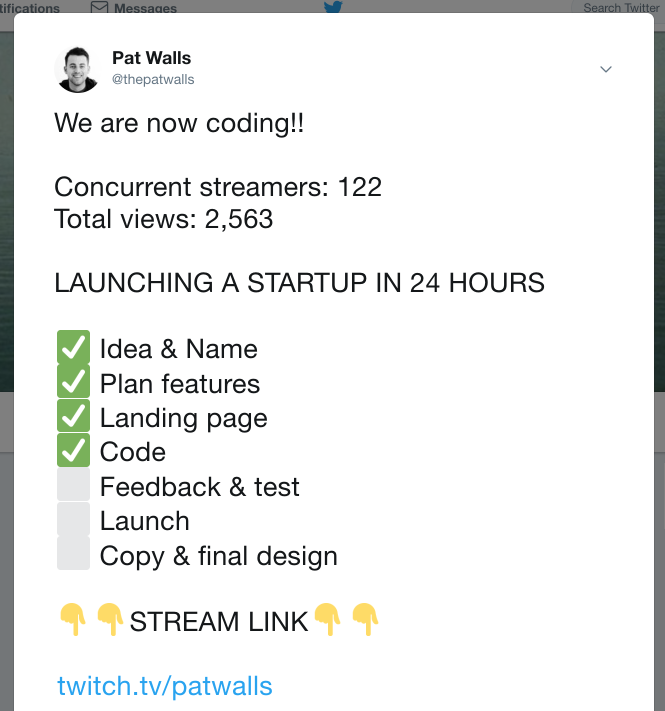 Share your stream progress with your audience on Twitter