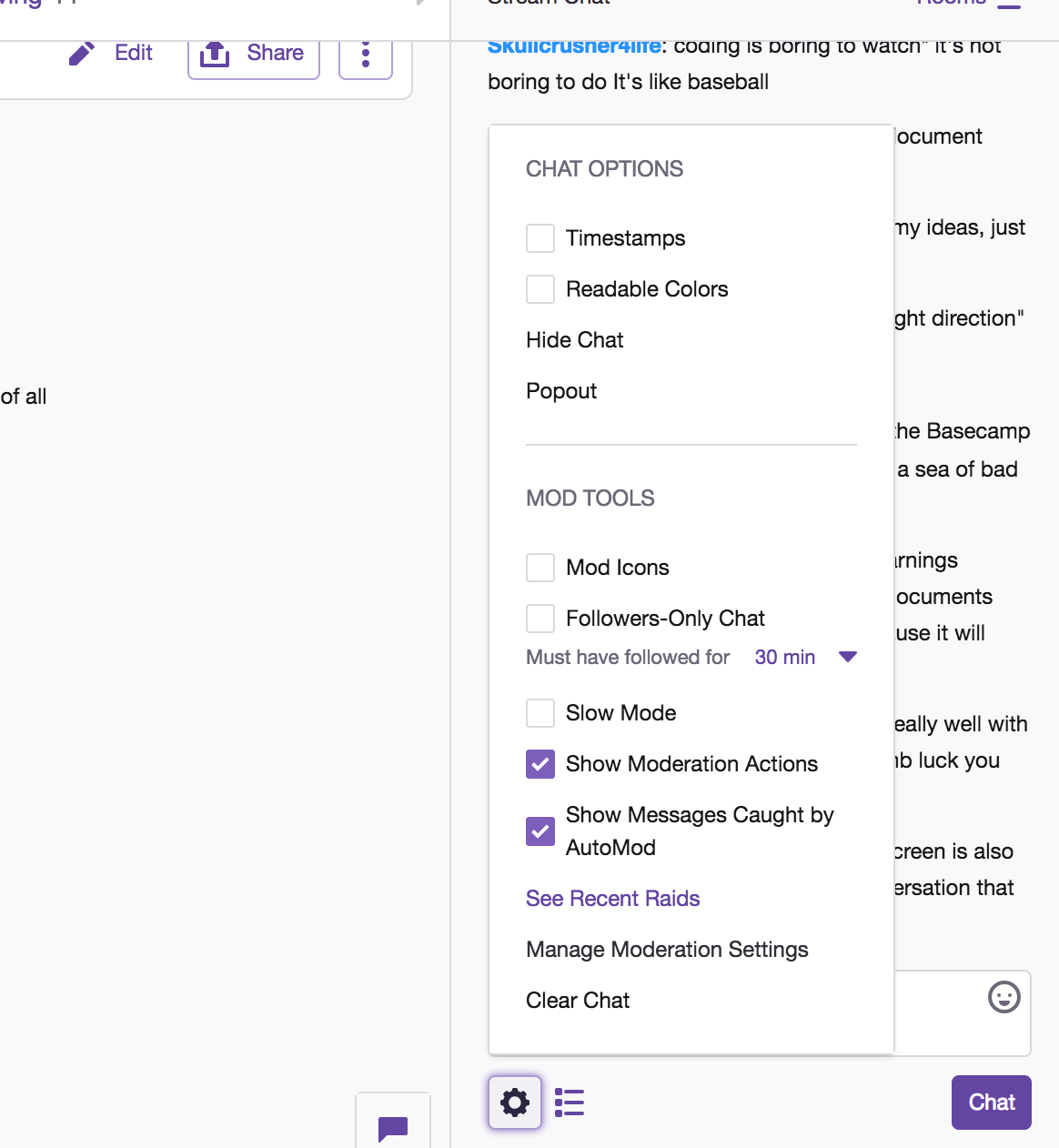 How to pop out the chat window on Twitch